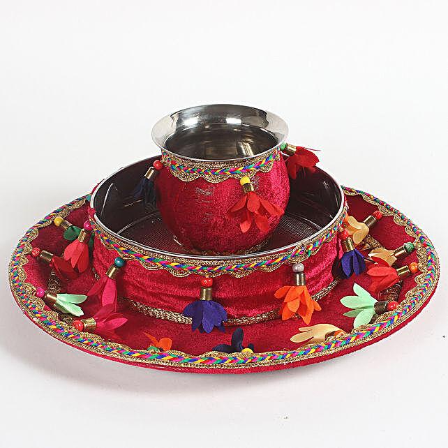 Floral Red Velvet Thali Combo for Karwa Chauth: Pooja Thali