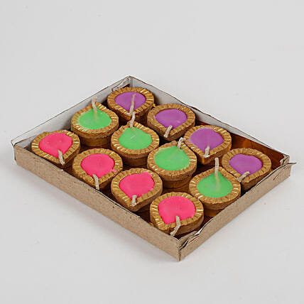 Colourful Wax Terracotta Diya Set 12 Pcs: Send Diyas