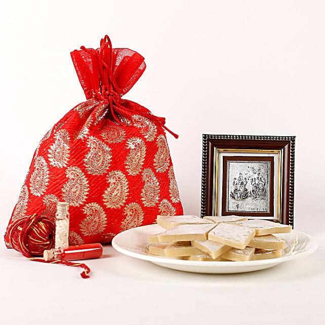 Kaju Katli, Almonds & Lakshmi Ganesha Frame Combo: Bhai Dooj Gift Hampers