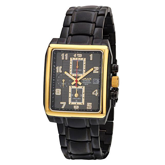 Omax Analog Chronograph Mens Watch Black: Fashion Accessories