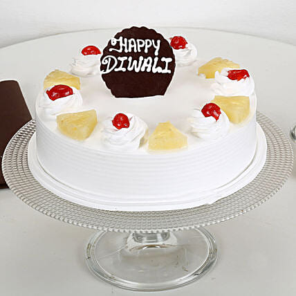 Happy Diwali Pineapple Cake: Send Gifts to Shahjahanpur