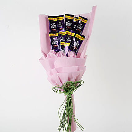 Dairy Milk Chocolates Pink Paper Bouquet: