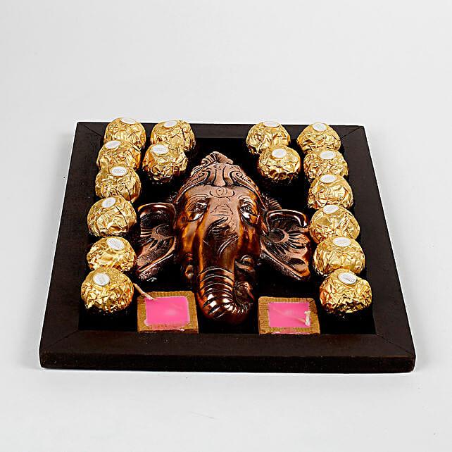 Chocolates & Metal Ganesha in Wooden Tray: Diwali Gift Hampers