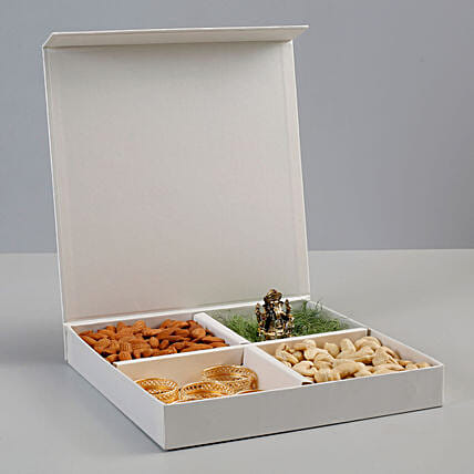 Dry Fruits & Antique Metal Ganesha Idol Gift Box: Send Gift Hampers