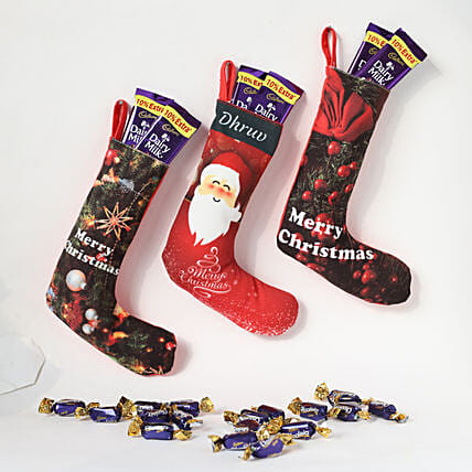 Personalised Xmas Stockings with Chocolates Set of 3: Christmas Personalised Gifts