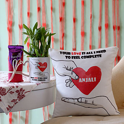2 Layer Bamboo Plant with Cushion & Dairy Milk Silk: