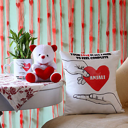 2 Layer Bamboo Plant with Love Cushion & Teddy: Plant Combos