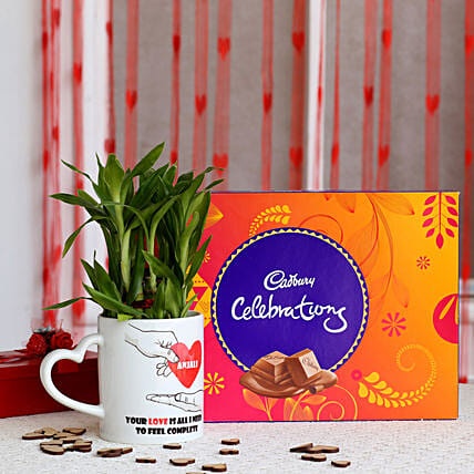 2 layer Lucky Bamboo Plant with Cadbury Celebrations: