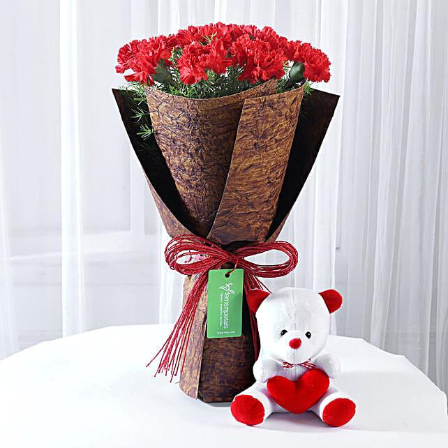 12 Red Carnations Bouquet & Teddy Bear Combo: Flower N Teddy