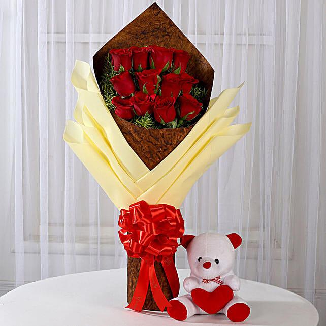 12 Red Roses & Teddy Bear Combo: Send Valentine Flowers & Teddy Bears