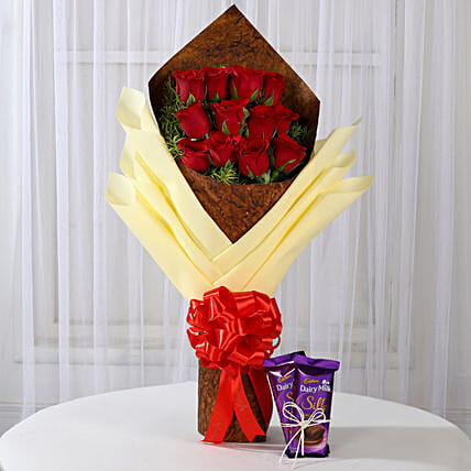 Bouquet of Red Roses & Dairy Milk Silk: Valentines Day Flowers & Chocolates