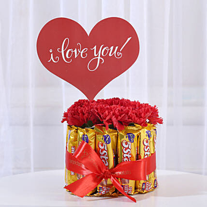 Carnations in Glass Vase & 5 Star Chocolate Bouquet: Valentines Day Carnations