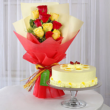 Red & Yellow Roses with Butterscotch Cake: