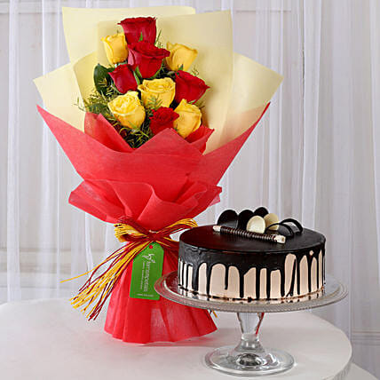 Red & Yellow Roses with Chocolate Cake: Mixed Roses