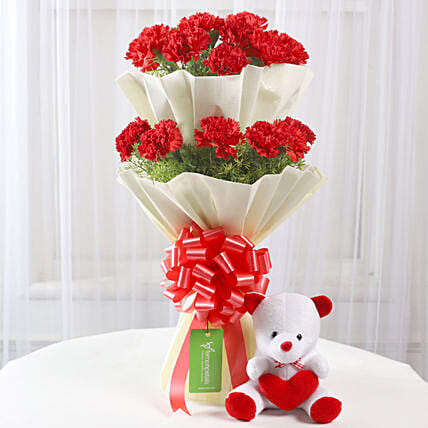 Teddy Bear & Two Layer Red Carnations Bouquet: Send Soft Toys
