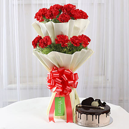 Two Layer Red Carnations Bouquet & Chocolate Cake Combo: Women's Day Flowers & Cakes