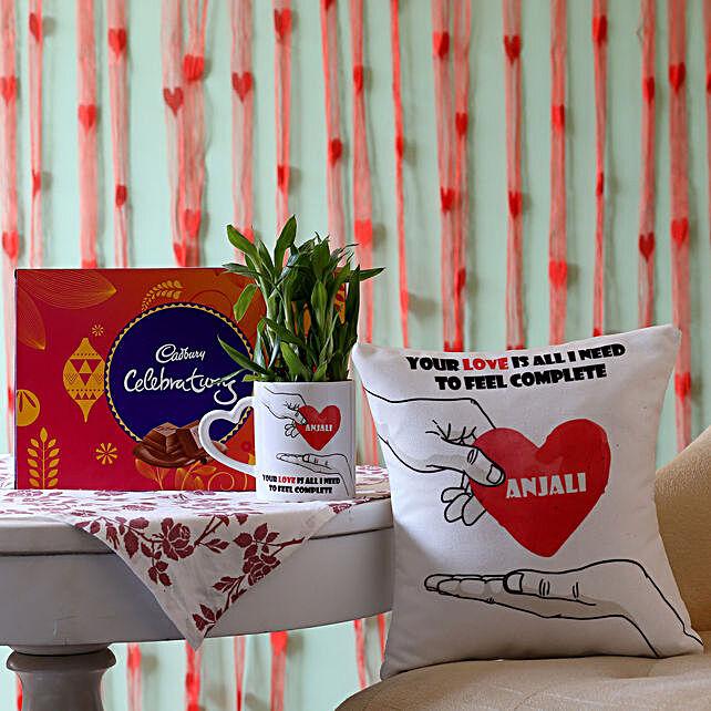 2 Layer Bamboo Plant with Cushion & Cadbury Celebrations: