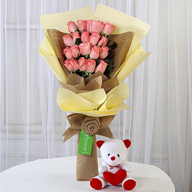 20 Pink Roses Bouquet & Teddy Bear Combo: Flower N Teddy