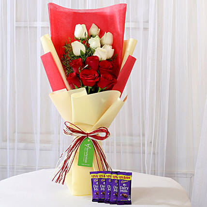 Dairy Milk with Red & White Roses Bouquet: Christmas Combos