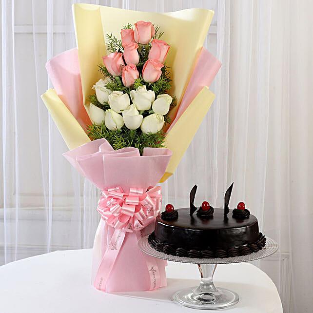 Pink & White Roses & Truffle Cake: Buy Flowers Combo