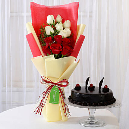 Truffle Cake & Red & White Roses Bouquet: Mixed Roses