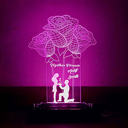 Personalised Purple LED Rose Lamp: Personalised Lamps
