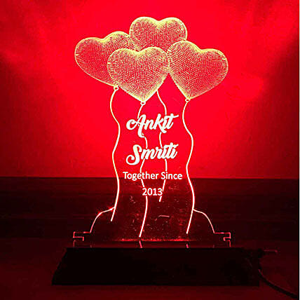 Personalised Red LED Heart Balloons Lamp: Personalised Lamps