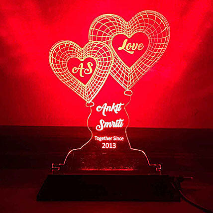 Personalised Red LED Heart Lamp: