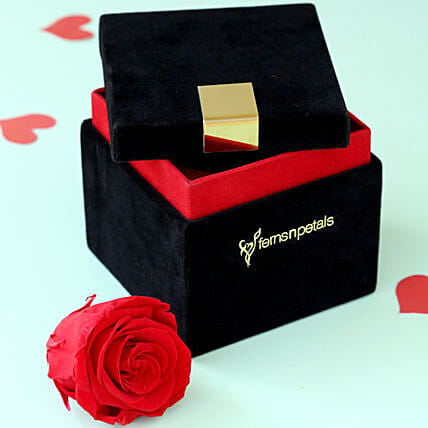 Timeless- Forever Red Rose in Velvet Box: Flowers for Valentines Day