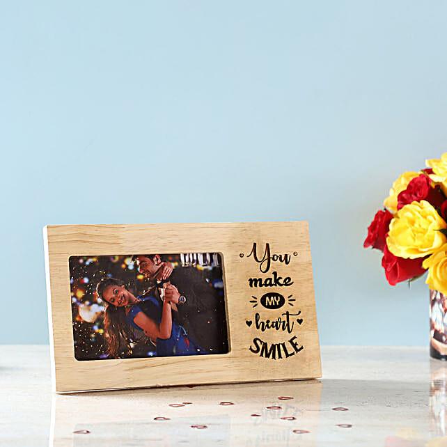 Make My Heart Smile Engraved Wooden Frame: Karwa Chauth Photo Frames
