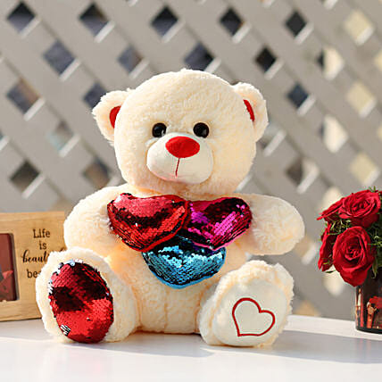 Sequin Heart Cream Color Teddy Bear: Send Soft Toys