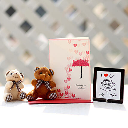 Valentines Card & Cuddly Teddy Bears Combo: Valentines Day Greeting Cards