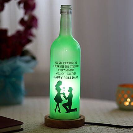 Rose Day Bottle Lamp: Gifts for Rose Day