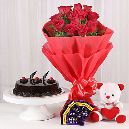Roses with Teddy Bear, Dairy Milk & Truffle Cake: Send Soft Toys