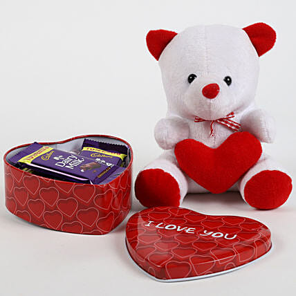 Dairy Milk in Heart Box & Teddy Bear: