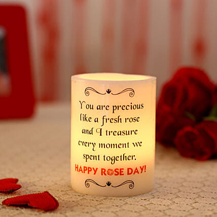 Glowing Rose Day T-Light Hollow Candle: Gifts for Rose Day