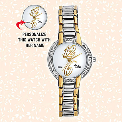 Personalised Classy Silver & Golden Watch: Watches for Her