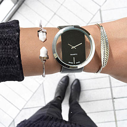 Futuristic Black Bracelet Stack: Buy Watches