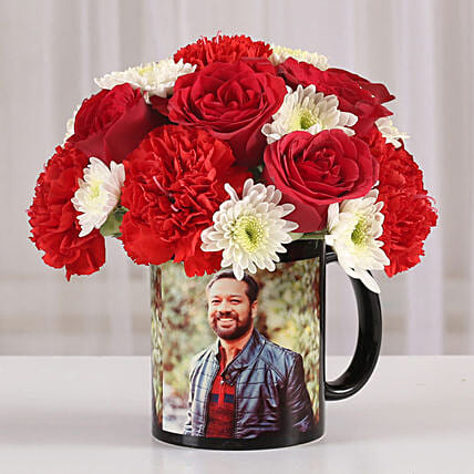 Mixed Flowers in Photo Mug: