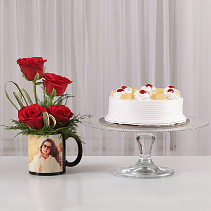 Red Roses Mug & Pineapple Cake Combo: Valentine Personalised Gifts