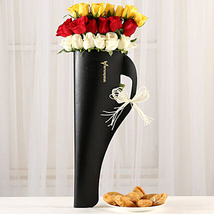Mixed Roses In Black Sleeve & Half Kg Gujia: Flowers & Sweets for Holi