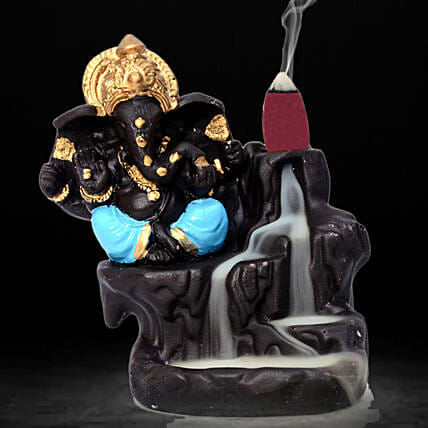 Lord Ganesha Incense Burner- Blue: Home Decor Gifts Ideas