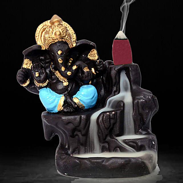 Lord Ganesha Incense Burner- Blue: Home Decor