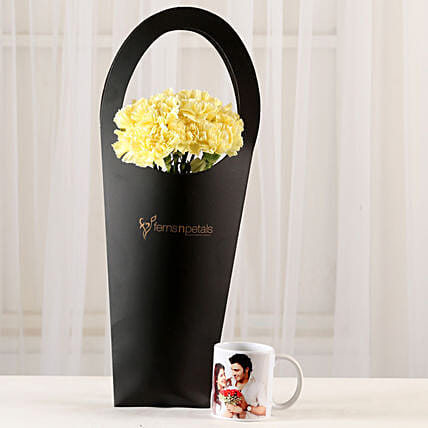 10 Yellow Carnations & Personalised Mug Combo: