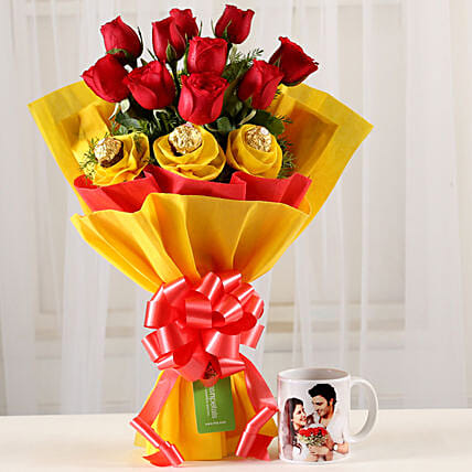 Chocolaty Red Roses & Picture Mug Combo: Flowers N Personalised Gifts