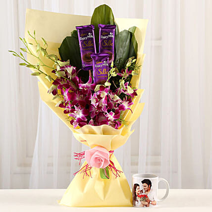 Dairy Milk & Orchids With Personalised Mug: Flowers N Personalised Gifts