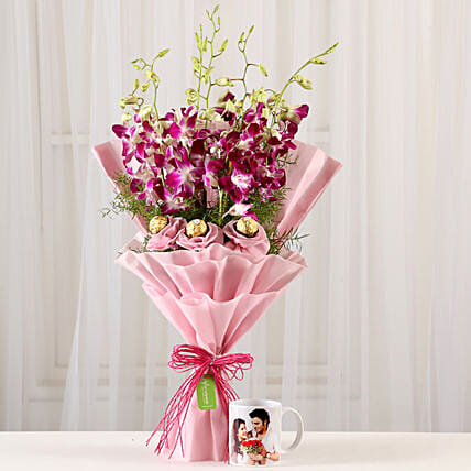 Personalised Mug & Chocolaty Orchids Bouquet: