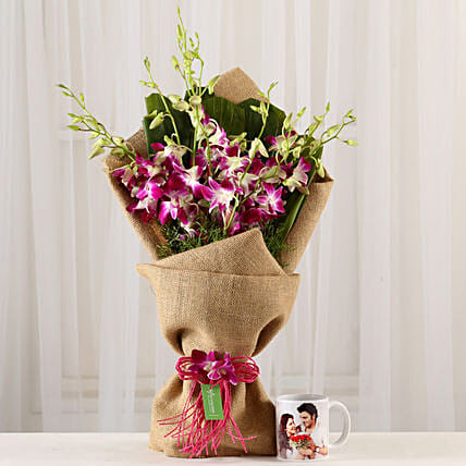 Purple Orchids Bunch & Personalised Mug Combo: Flowers N Personalised Gifts