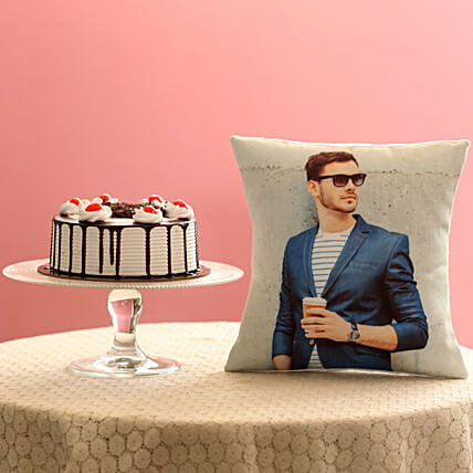 Picture Cushion & Black Forest Cake Combo: Anniversary Cushions
