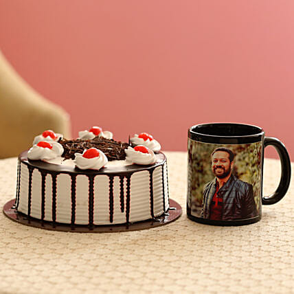Picture Mug & Black Forest Cake Combo: Personalised Gifts Combo for Valentine's Day